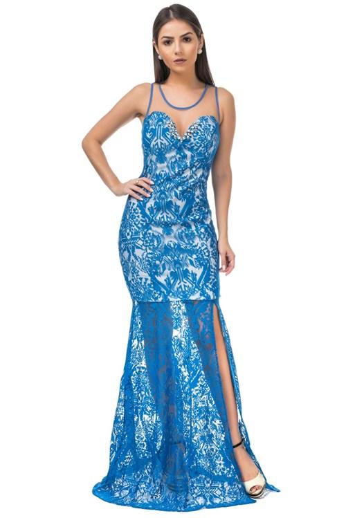 Vestido Longo Celestine Renda Azul