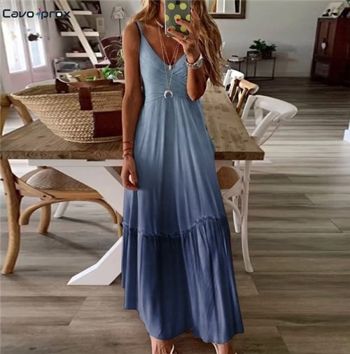 Vestido Longo (Cod. 8825) (Azul, P)