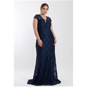 Vestido Longo Decotado - AZUL MARINHO - 48