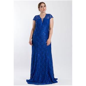 Vestido Longo Decotado - AZUL ROYAL - 48