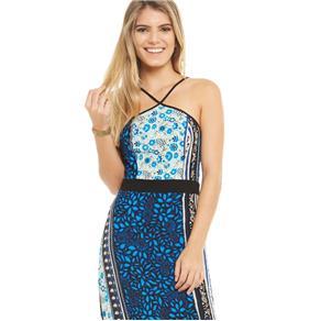 Vestido Longo Estampa Maldivas - G - Azul