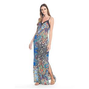 Vestido Longo Estampa Oriental - G - Azul