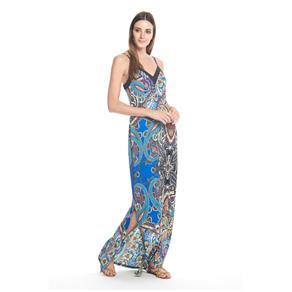 Vestido Longo Estampa Oriental - P - Azul