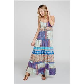 Vestido Longo Estampa Patchwork - G - Azul