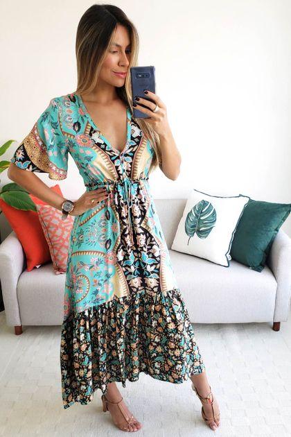 Vestido Longo Farm Estampa Lorena - Azul