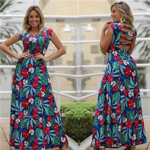 Vestido Longo Floral Tiras Azul