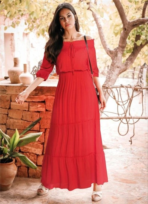 Vestido Longo Ombro a Ombro Vermelho (Vermelho, 38)