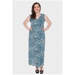 Vestido Longo Onça Plus Size - Azul Doce - 54
