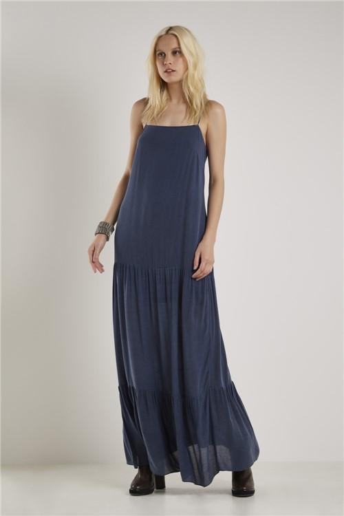 Vestido Longo Stoned Azul Batik - 36