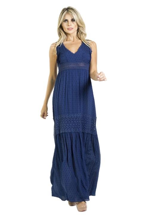 Vestido Lume Longo Guipir Azul
