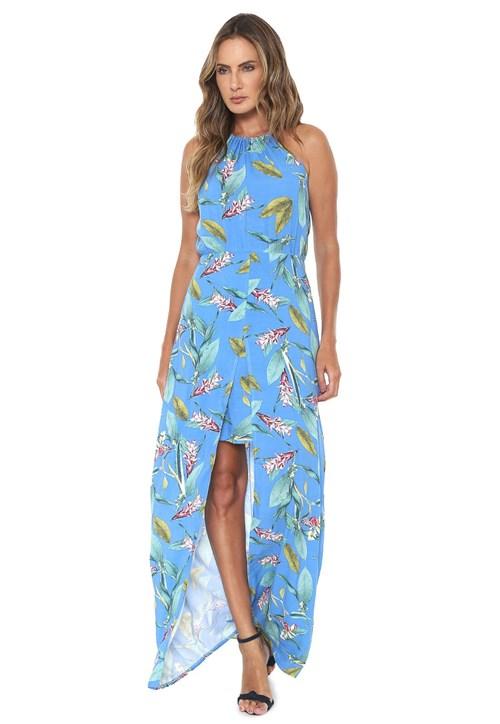Vestido Mercatto Longo Fenda Azul