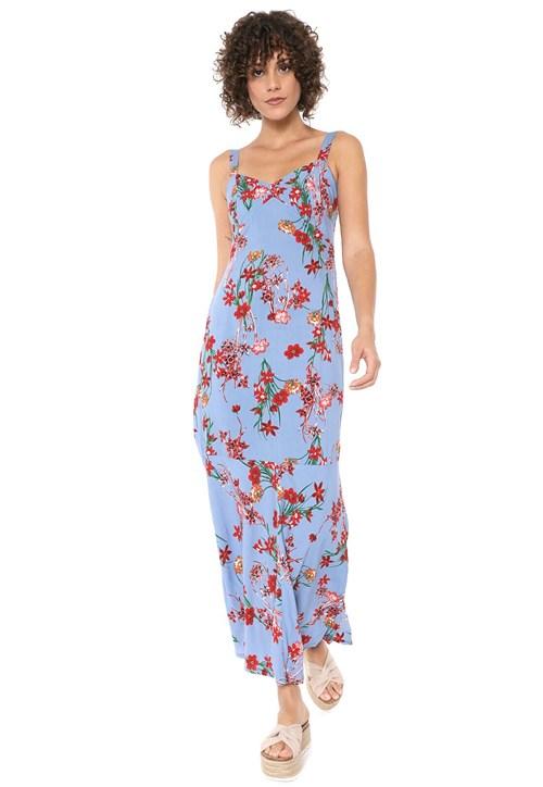 Vestido Mercatto Longo Floral Azul