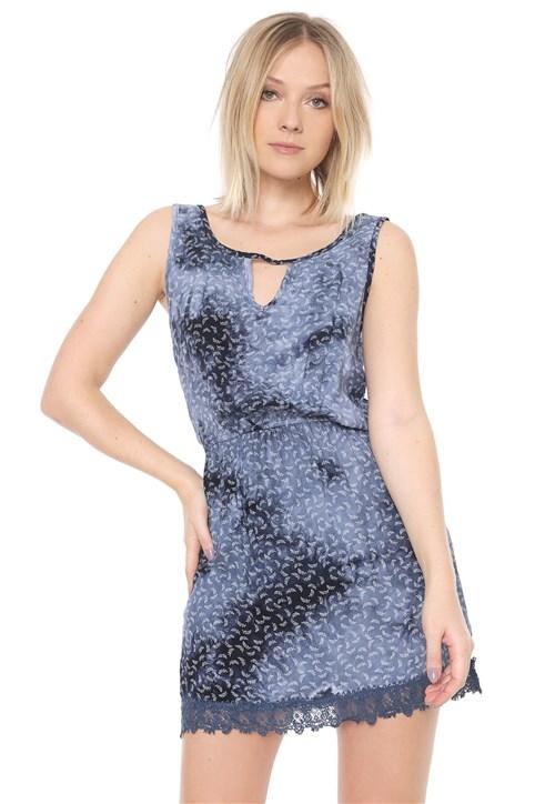 Vestido Mosaico Curto Estampado Azul