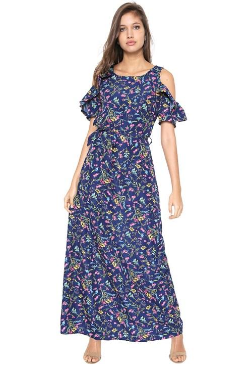 Vestido Mosaico Longo Estampado Azul