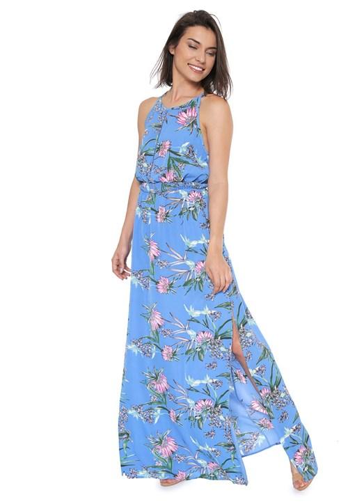 Vestido Mosaico Longo Floral Azul