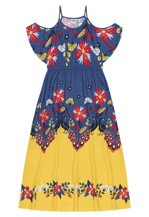 Vestido Nanai Longo Azul Floral