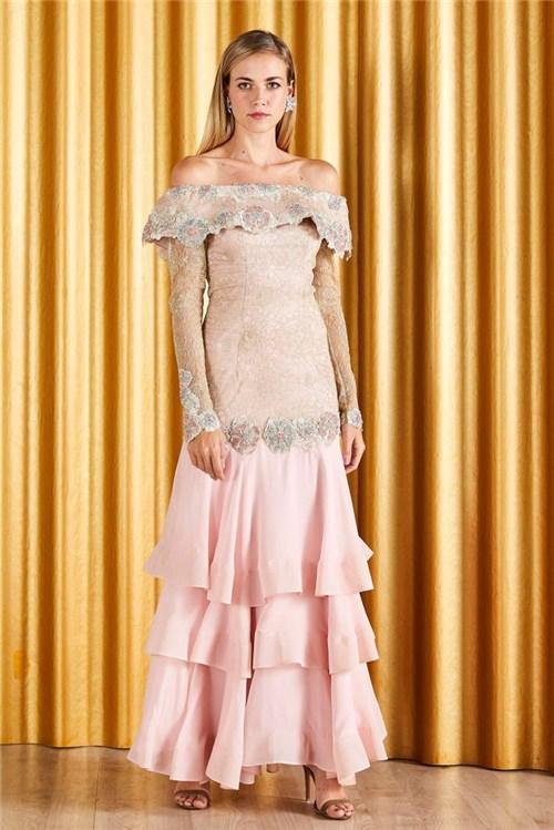 Vestido Ombro a Ombro Bordado - Rosa 38