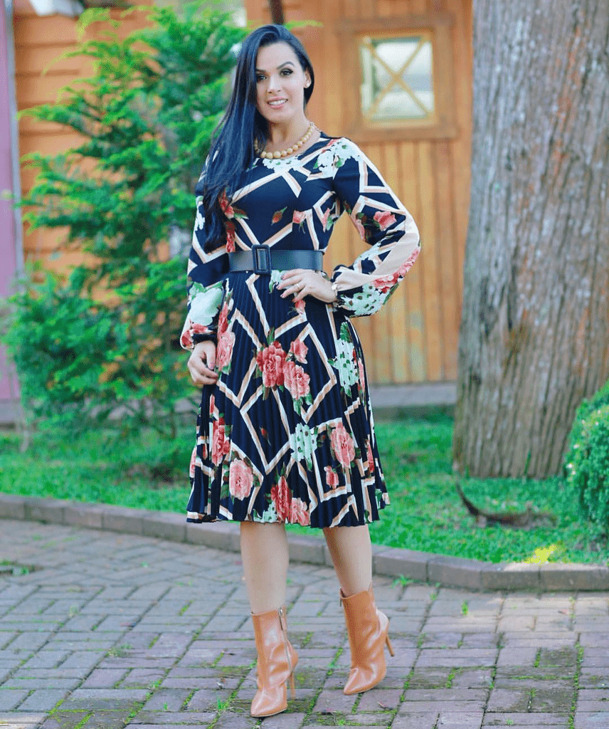 Vestido Plissado Floral Manga Longa (P)