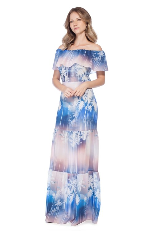 Vestido Richini Longo Babados Azul