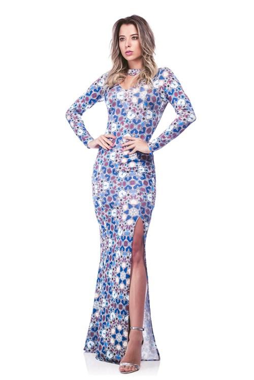 Vestido Richini Longo Estampado Azul