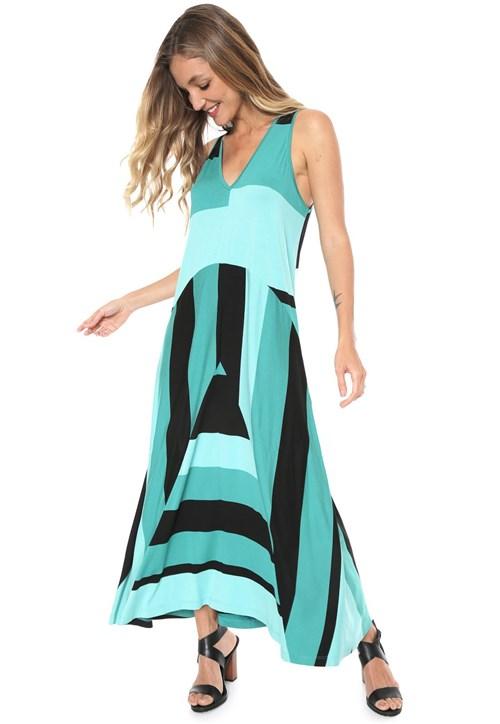 Vestido Sacada Longo Geométrico Azul