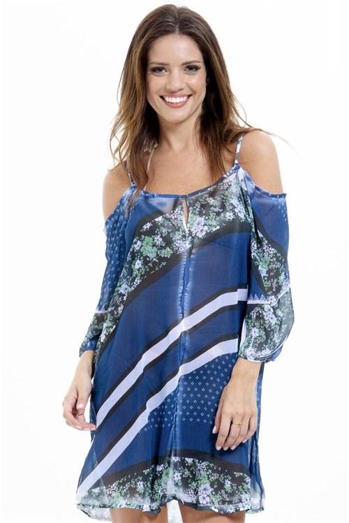 Vestido Saída Ciganinha Estampado Azul