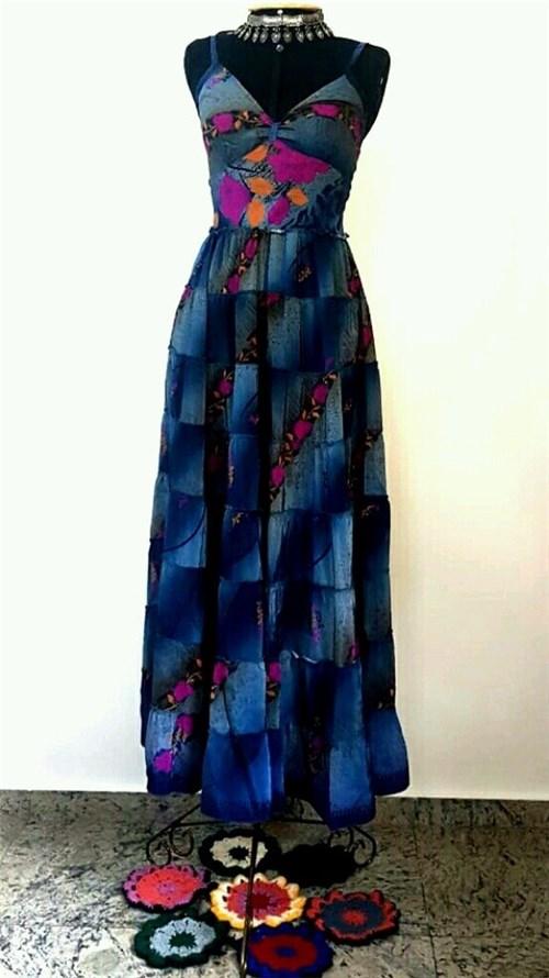 Vestido Seda Indiana Longo Azul