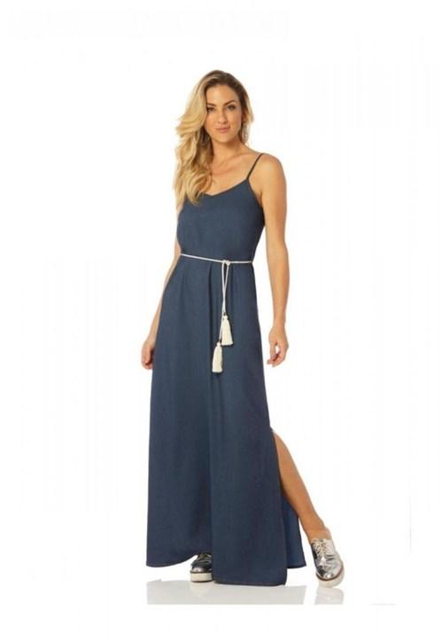 Vestido Sly Wear Longo Jeans Azul