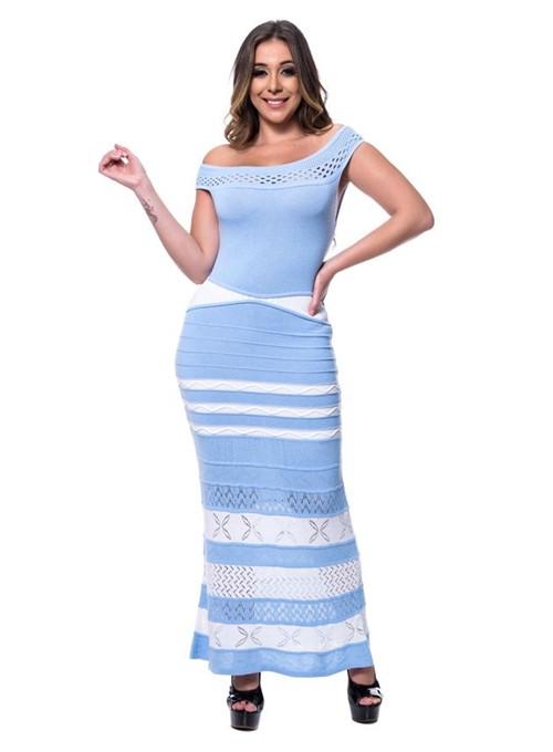 Vestido Tricot Longo Glamour Azul
