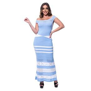 Vestido Tricot Longo Glamour Rarah - AZUL CLARO - ÚNICO