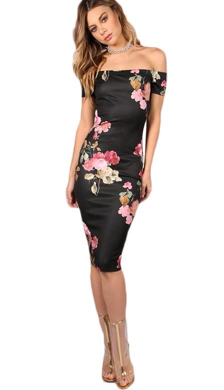 Vestido Tubinho Floral Ombro a Ombro