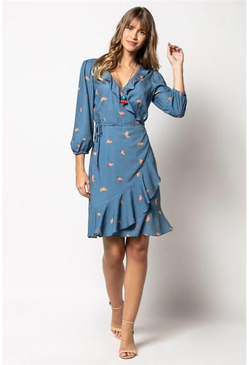 Vestido Viscose Estampado Azul Carla Azul-M