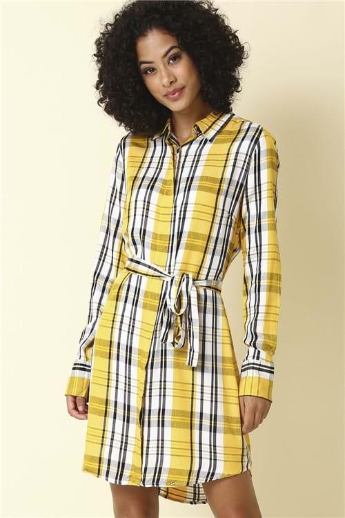Vestido Xadrez Manga Longa - Amarelo Tamanho: P