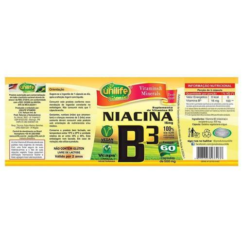 Vitamina B3 Niacina 60 Capsulas