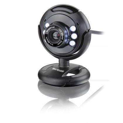 Webcam Multilaser Plug e Play 16Mp NighTVision Microfone USB Preto - WC045 WC045