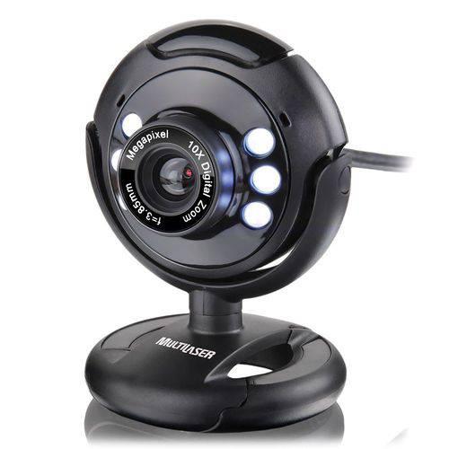 Webcam Plug e Play 16Mp NighTVision Microfone USB Preto - Multilaser WC045
