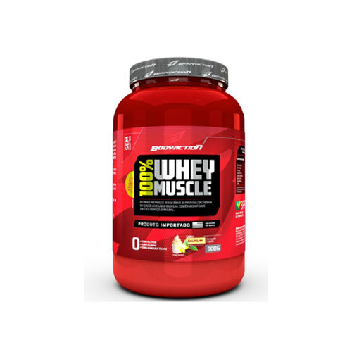 Whey 100% Muscle 900gr - Body Action-Morango