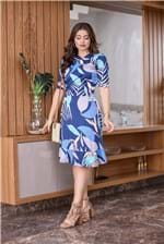 Ficha técnica e caractérísticas do produto 2216 - Vestido Decote Transpassado Flores Azul