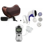 Almofada Massageadora Shiatsu + Massageador Eletrico com Eletrodos Digital +Massageador Anticelulite
