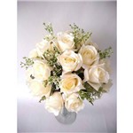 Arranjo de Flores Artificiais de Rosas na Taça de Vidro 85cm