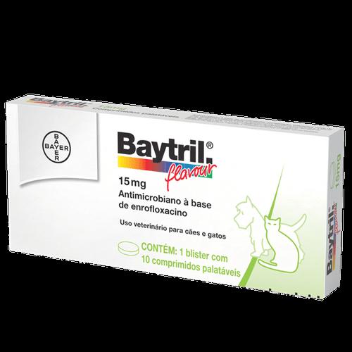 Ficha técnica e caractérísticas do produto Baytril Flavour Cães e Gatos 15mg – 10 Comprimidos _ Antibiótico Bayer 15mg