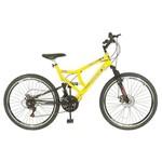 Bicicleta Aro 26 FULL Supensão Disco Preto/Amarela