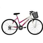 Bicicleta Track & Bikes Feminina Marbela 18-V Aro 26 Branco Magenta