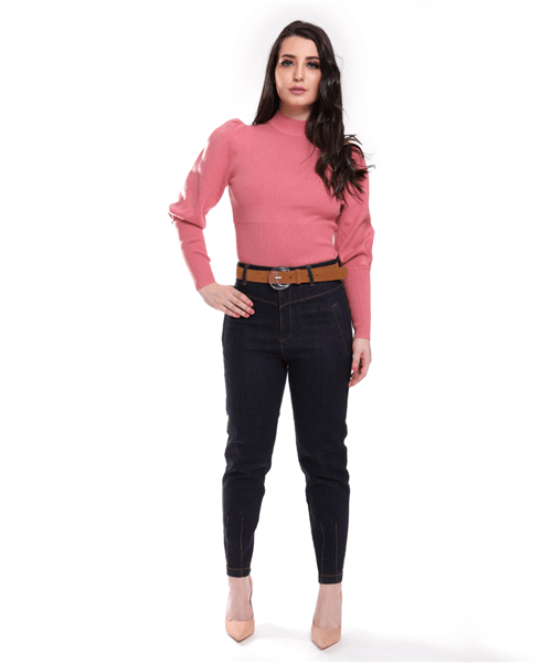 Ficha técnica e caractérísticas do produto Calça Jeans Cintura Alta - 49222-1