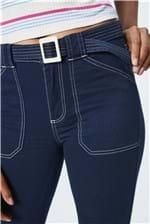 Ficha técnica e caractérísticas do produto Calça Jeans Cropped de Cintura Alta