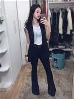 Ficha técnica e caractérísticas do produto Calça Jeans Flare Escura