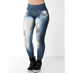 Ficha técnica e caractérísticas do produto Calça Legging Fitness Fake Jeans