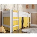 Cama Infantil Elevada com Cortina e Escada Branco/Amarelo - Completa Móveis