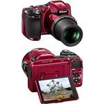 Câmera Digital Semi-profissional Nikon Coolpix L830 com 16MP Zoom Ótico de 34x Vermelha