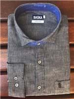 Ficha técnica e caractérísticas do produto Camisa de Linho Manga Longa Preta (1)